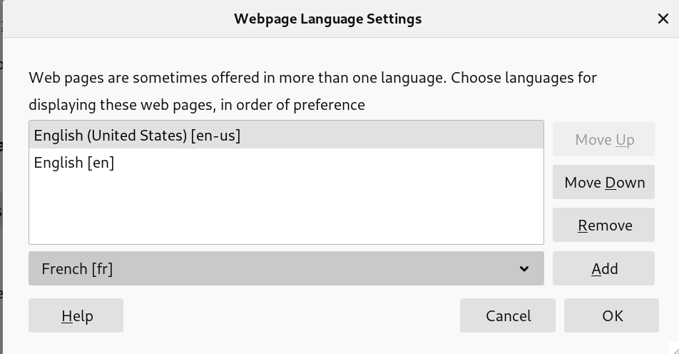 Language settings Firefox